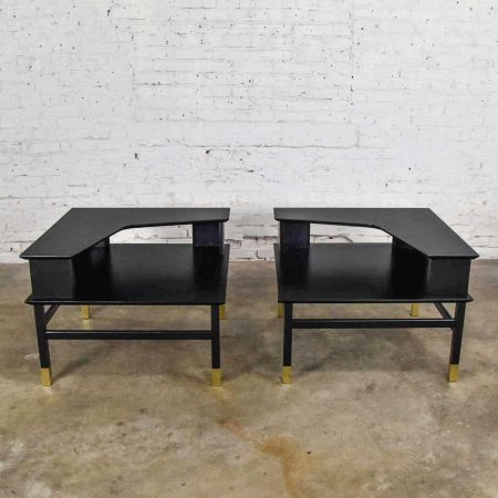 Mid Century Modern Corner Step Tables a Pair Black with Brass Sabots Style of Harvey Probber