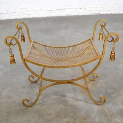 Gilded Wrought Iron Curule or Savonarola Italian Hollywood Regency Vanity Stool with Tassels