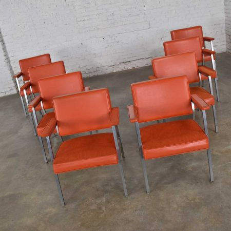 Mid Century Modern Steelcase Coral Vinyl Fabric & Brushed Steel Dining Armchairs Set of 8