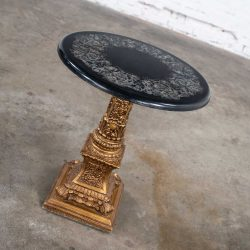Neoclassic Hollywood Regency Gilded Plaster Round Pedestal Side Table & Black Top