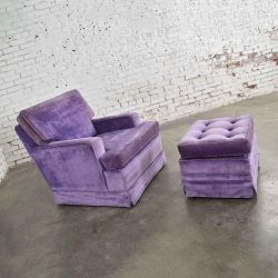 Mid Century Modern Purple Velvet Lawson Style Vintage Club Chair and Ottoman