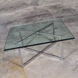 Chrome X Base Coffee Table with Glass Top in the Style of Milo Baughman