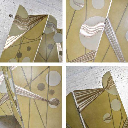 Art Deco Revival 3 Panel Folding Screen or Room Divider