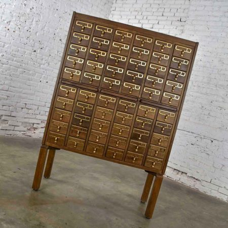 Mid Century Modern Vintage Library Card Catalog with Cast Bronze Pulls