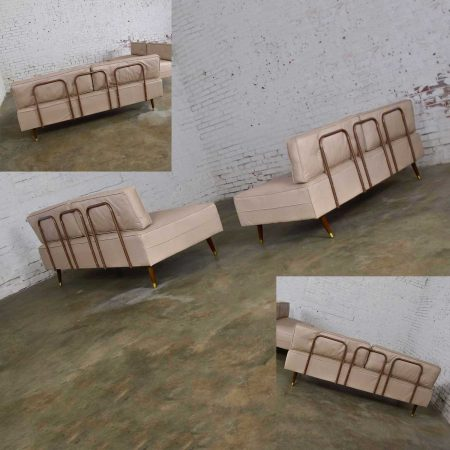 Mid-Century Modern White Vinyl Faux Silk Look Daybeds or Convertible Sofas or Sectional, a Pair