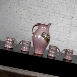 Purple Ceramic Studio Pottery Handmade Hot Chocolate Set 1 Pitcher & 4 Cups