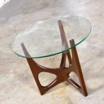 Mid Century Modern Walnut Tri-Leg Round Glass Top Side Table in the Style of Adrian Pearsall