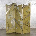 Art Deco Revival 3 Panel Folding Screen or Room Divider Gold Silver Bronze
