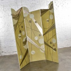 Art Deco Revival 3 Panel Folding Screen or Room Divider Gold Silver Bronze