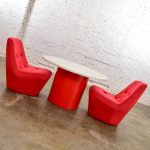 Mod Style Mid-Century Modern Round Table & 2 Chairs by Founders Furniture in Red & White