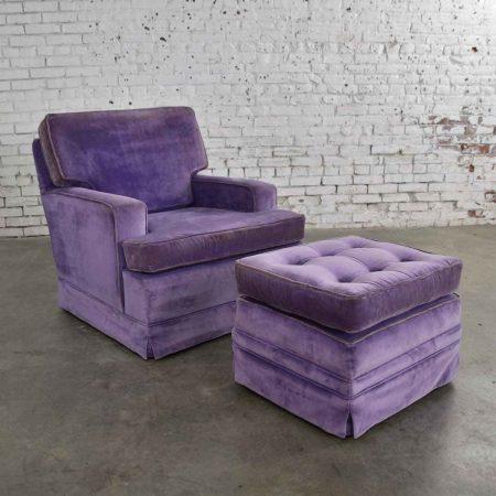 Mid Century Modern Purple Velvet Lawson Style Vintage Club Chair and Ottoman