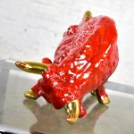 Mid-Century Modern Royal Haeger Style Ceramic Red Charging Bull Sculpture