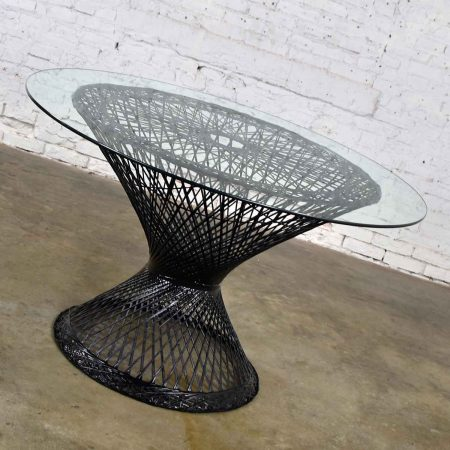 MCM Spun Fiberglass Round Dining Table with Glass Top Attributed to Russell Woodard