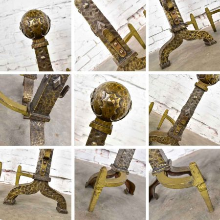 Large Cast Iron Bronze Plated Arts & Crafts Cannonball Andirons or Fire Dogs