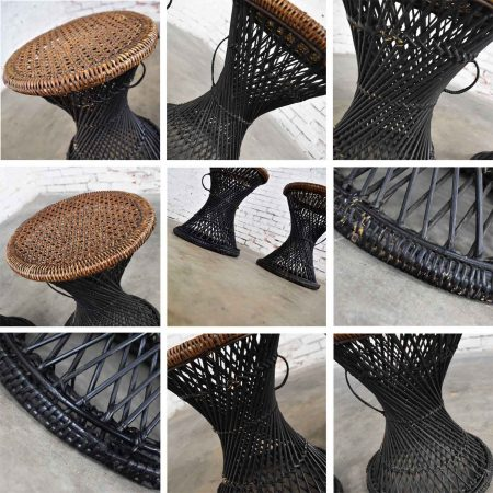 MCM Rattan and Cane Cinched Waist Side Accent End Tables or Low Stools a Pair