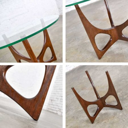 Mid Century Modern Walnut Tri-Leg Glass Top Side Table in the Style of Adrian Pearsall