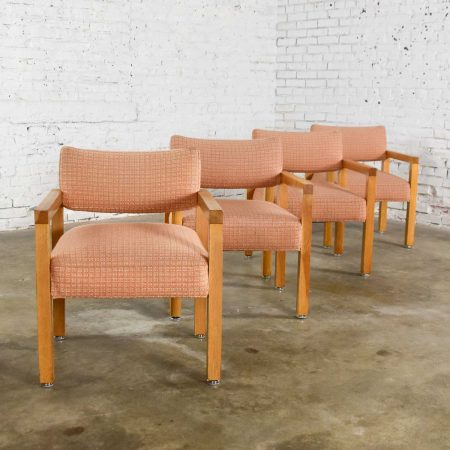 Modern Square Frame Oak Armchairs with Original Blush Textured Fabric, Set of Four