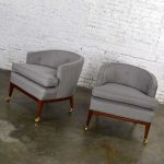 Pair MCM Grey & Taupe Barrel Back Club Chairs on Casters Style of Harvey Probber