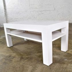 Mid-Century Modern Two-Tiered White Laminate Parson's Style Coffee or End Table