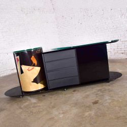 Postmodern Italian Black Lacquered Buffet Credenza w/ Colorful Geometric Inlay Signed by Pietro Costantini