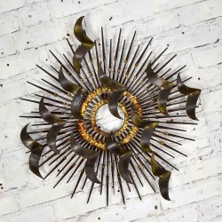 Torch Cut Brass Birds on Starburst Nail Wall Art Style Silas Seandel or William Bowie