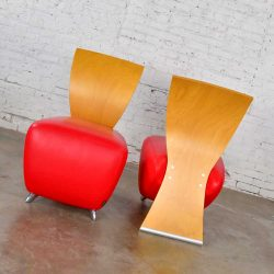 Dauphin BOBO Postmodern Accent Chairs by Dietmar Sharping Red Leather & Maple a Pair