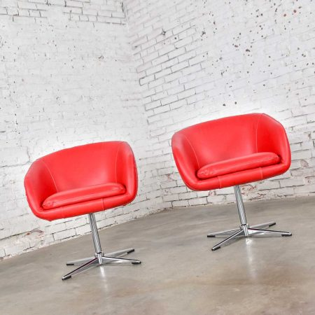Shelby Williams MCM Swivel Bucket Chairs New Red Vinyl Faux Leather & Chrome X Base