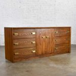 Bassett Modern Credenza Buffet Dresser in Medium Tone Finish with Brass Plate Hardware