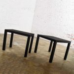 Pair Mid-Century Modern Black Painted Parsons Side Tables 1 Square 1 Rectangle