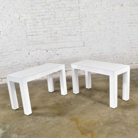 White Laminate Parsons Style Side or End Tables with Glass Tops, a Pair