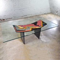 Italian Postmodern Dining Table by Pietro Costantini Black Lacquer & Geometric Inlay w/ Glass Top