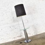 Modern Chrome Cylinder Floor Lamp with Attached Glass Side Table in the Style of George Kovacs
