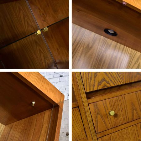 MCM Hooker 5 Section Oak Veneer Display Cabinet Wall Unit with Smoked Glass Doors and Brass Pulls