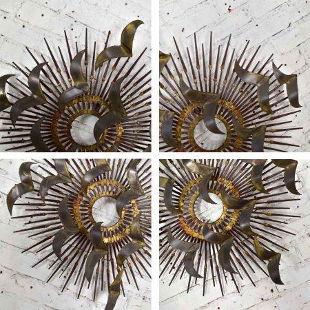 Torch Cut Brass Birds on Starburst Nail Wall Art Style Silas Seandel or William Bowie