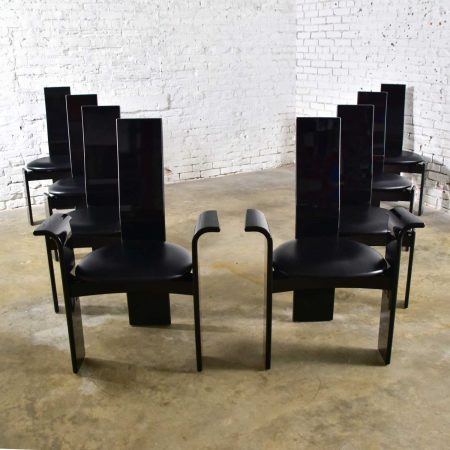 Italian Postmodern Black Lacquered Dining Chairs Attributed to Pietro Costantini Set of 8