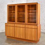 Danish Teak Veneer Mid-Century Scandinavian Modern Two-Piece China Hutch Buffet Cabinet