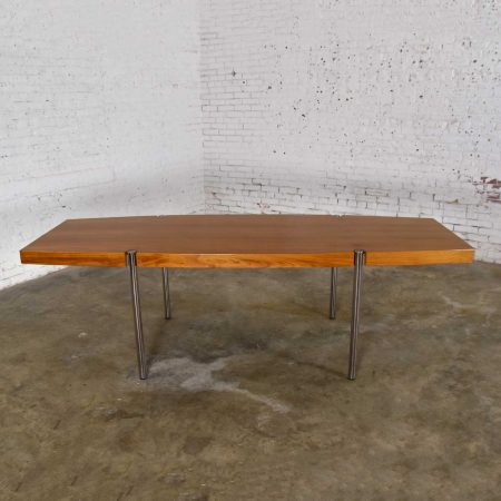 Modern Walnut and Chrome Boat Shaped Dining Conference Table by Jens Risom for Howe Furniture