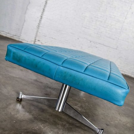 MCM Vinyl Faux Leather Turquoise & Chrome Bench Daybed Style of Arthur Umanoff for Madison Furniture Co.