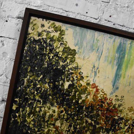 Mid-Century Modern Hillside Original Landscape Impasto Oil Painting by Van Hoople