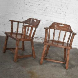 Vintage Ranch Oak Captains Armchairs by A. Brandt Acorn Brown Finish a Pair