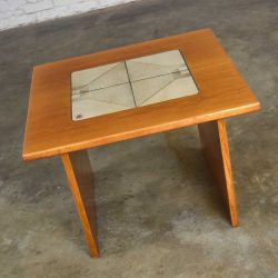 MCM Scandinavian Teak Side Table or End Table with Tile Insert by Poul H. Poulsen for Gangso Mobler