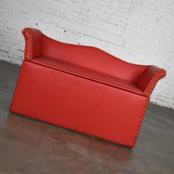 Vintage Coral Vinyl Faux Leather Cedar Lined Storage Bench Settee with Nail Head Detail