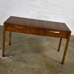 Modern Hollywood Regency Walnut Parson's Style Hall Writing Desk by Tomlinson Furniture
