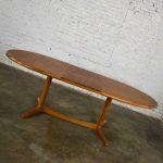 Scandinavian Modern Teak Oval Dining Table with Integral Leaf Style Dyrlund