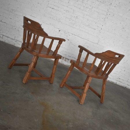 Vintage Ranch Oak Captains Armchairs by A. Brandt Acorn Brown Finish a Pair