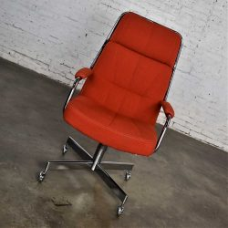 Modern Chromcraft Adjustable Armed High Back Rolling Office Chair in Orange Hopsack Fabric