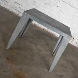 Vintage Patinated Galvanized Industrial Side or End Table