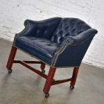 Vintage Blue Leather Rolling Captain's Chair Campaign Chippendale Style