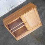 Ranch Oak Small Credenza End Table Cabinet or Nightstand with Natural Oak Finish by A. Brandt