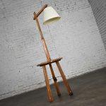 Vintage Ranch Oak Adjustable Arm Floor Lamp Tri Leg Base with Table by A. Brandt